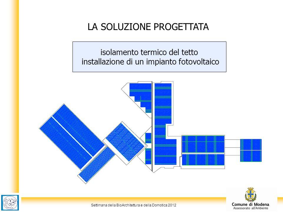 Settimana della BioArchitettura e della Domotica 2012 LA SOLUZIONE PROGETTATA isolamento termico del tetto installazione di un impianto fotovoltaico