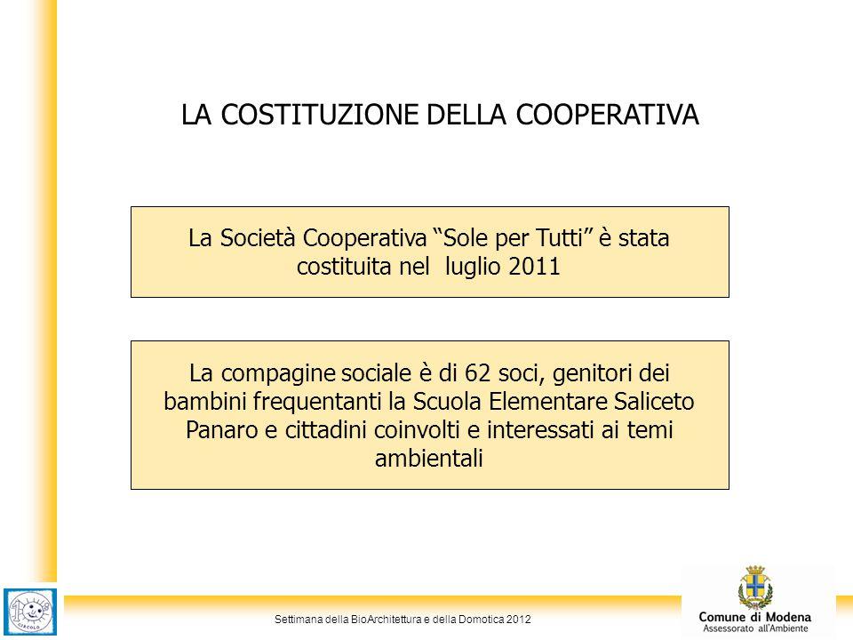 Settimana della BioArchitettura e della Domotica 2012 LA COSTITUZIONE DELLA COOPERATIVA La compagine sociale è di 62 soci, genitori dei bambini freque