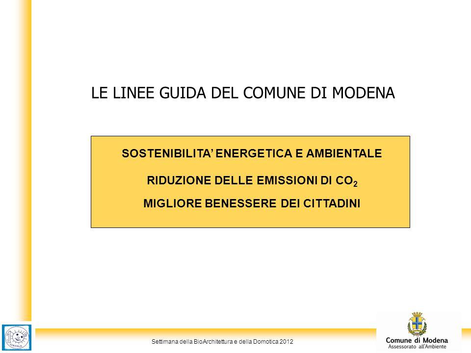 Settimana della BioArchitettura e della Domotica 2012 LE LINEE GUIDA DEL COMUNE DI MODENA SOSTENIBILITA' ENERGETICA E AMBIENTALE RIDUZIONE DELLE EMISS