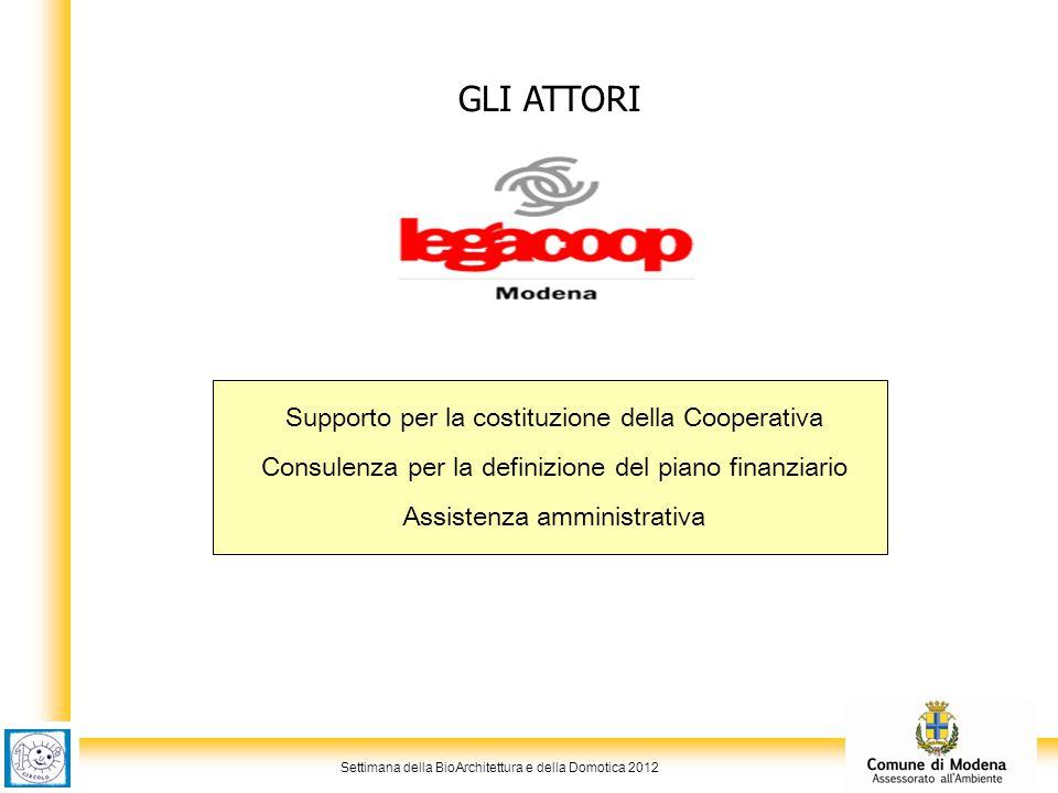 Settimana della BioArchitettura e della Domotica 2012 GLI ATTORI Supporto per la costituzione della Cooperativa Consulenza per la definizione del piano finanziario Assistenza amministrativa