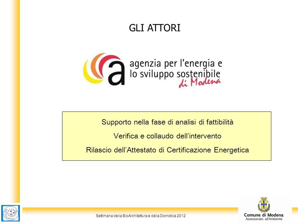 Settimana della BioArchitettura e della Domotica 2012 GLI ATTORI Supporto nella fase di analisi di fattibilità Verifica e collaudo dell'intervento Ril