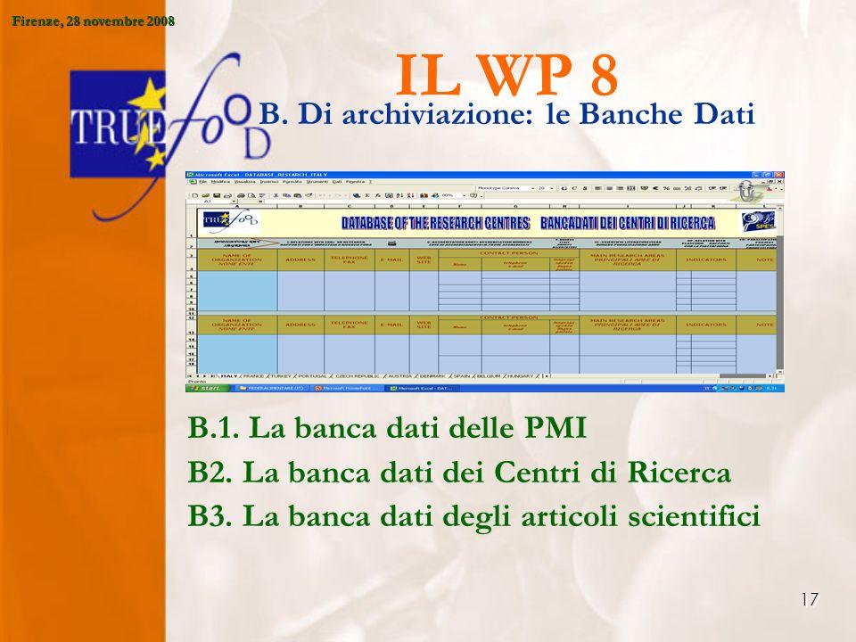 17 IL WP 8 B. Di archiviazione: le Banche Dati B.1.