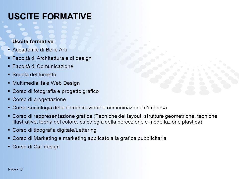 Page  13 USCITE FORMATIVE Uscite formative  Accademie di Belle Arti  Facoltà di Architettura e di design  Facoltà di Comunicazione  Scuola del fu