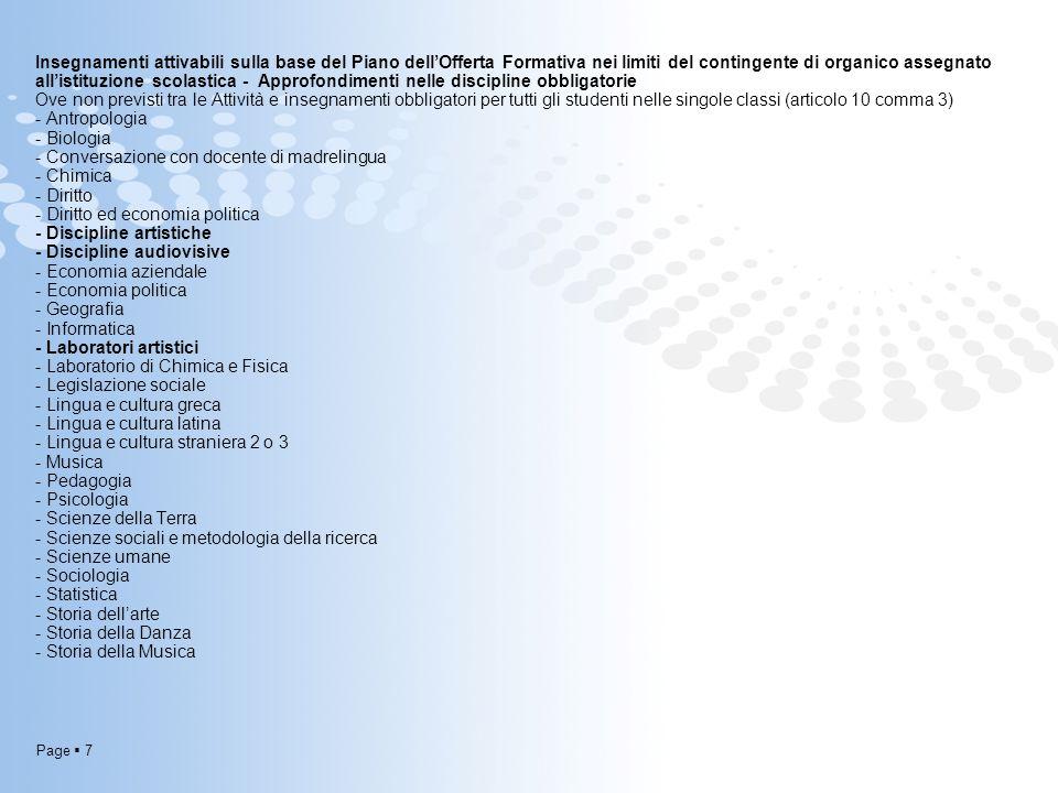 Page  7 Insegnamenti attivabili sulla base del Piano dell'Offerta Formativa nei limiti del contingente di organico assegnato all'istituzione scolasti