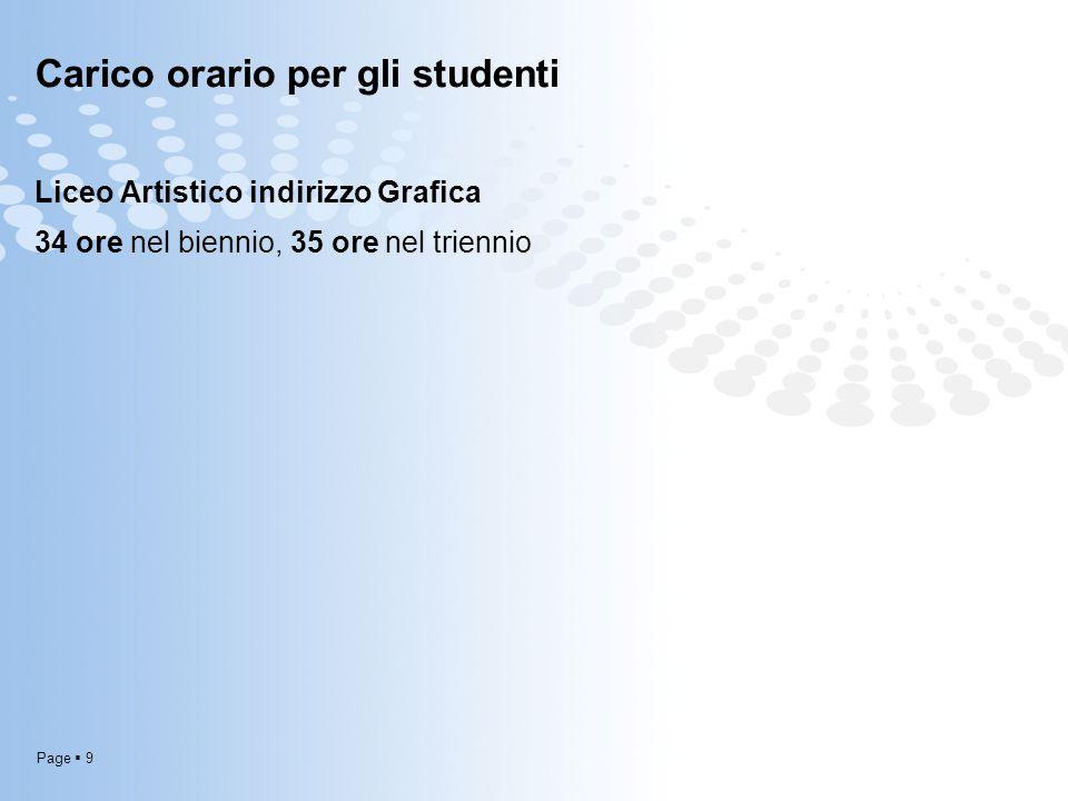 Page  9 Carico orario per gli studenti Liceo Artistico indirizzo Grafica 34 ore nel biennio, 35 ore nel triennio