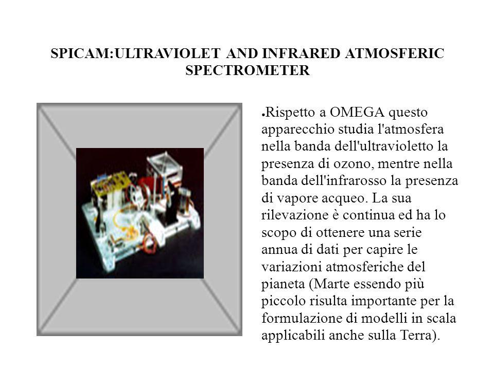PFS:PLANETARY FOURIER SPECTROMETER ● E un apparecchio che studia l assorbimento della luce del sole nell atmosfera in un intervallo che prende una buona parte dell infrarosso.