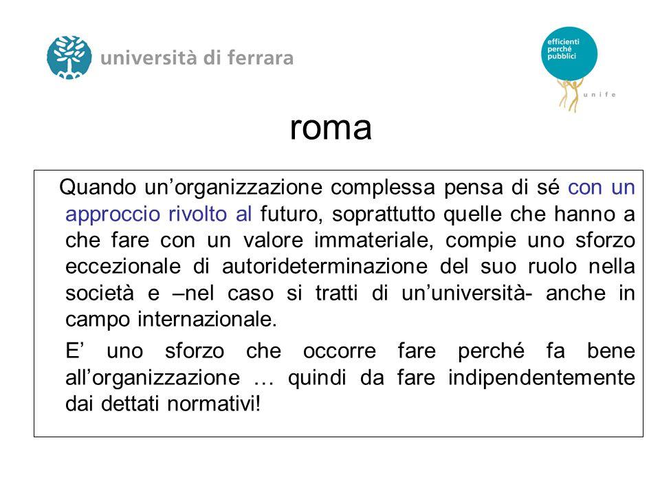 roma Quando un'organizzazione complessa pensa di sé con un approccio rivolto al futuro, soprattutto quelle che hanno a che fare con un valore immateri