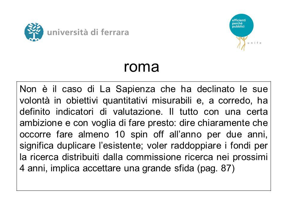 roma Non è il caso di La Sapienza che ha declinato le sue volontà in obiettivi quantitativi misurabili e, a corredo, ha definito indicatori di valutaz