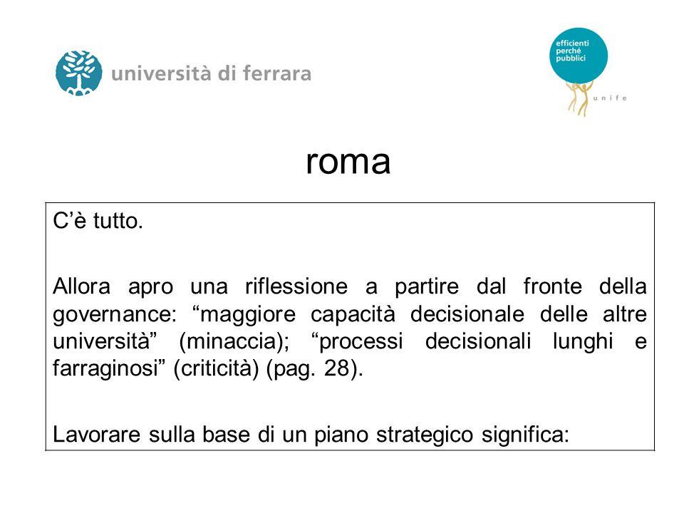 """roma C'è tutto. Allora apro una riflessione a partire dal fronte della governance: """"maggiore capacità decisionale delle altre università"""" (minaccia);"""