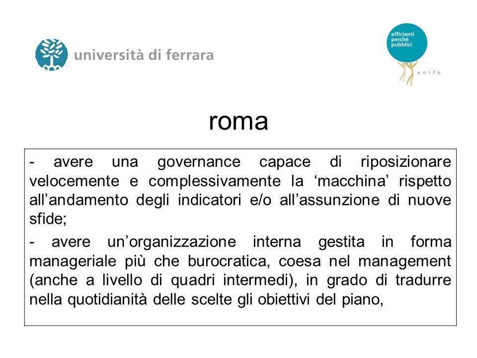 roma - avere una governance capace di riposizionare velocemente e complessivamente la 'macchina' rispetto all'andamento degli indicatori e/o all'assunzione di nuove sfide; - avere un'organizzazione interna gestita in forma manageriale più che burocratica, coesa nel management (anche a livello di quadri intermedi), in grado di tradurre nella quotidianità delle scelte gli obiettivi del piano,