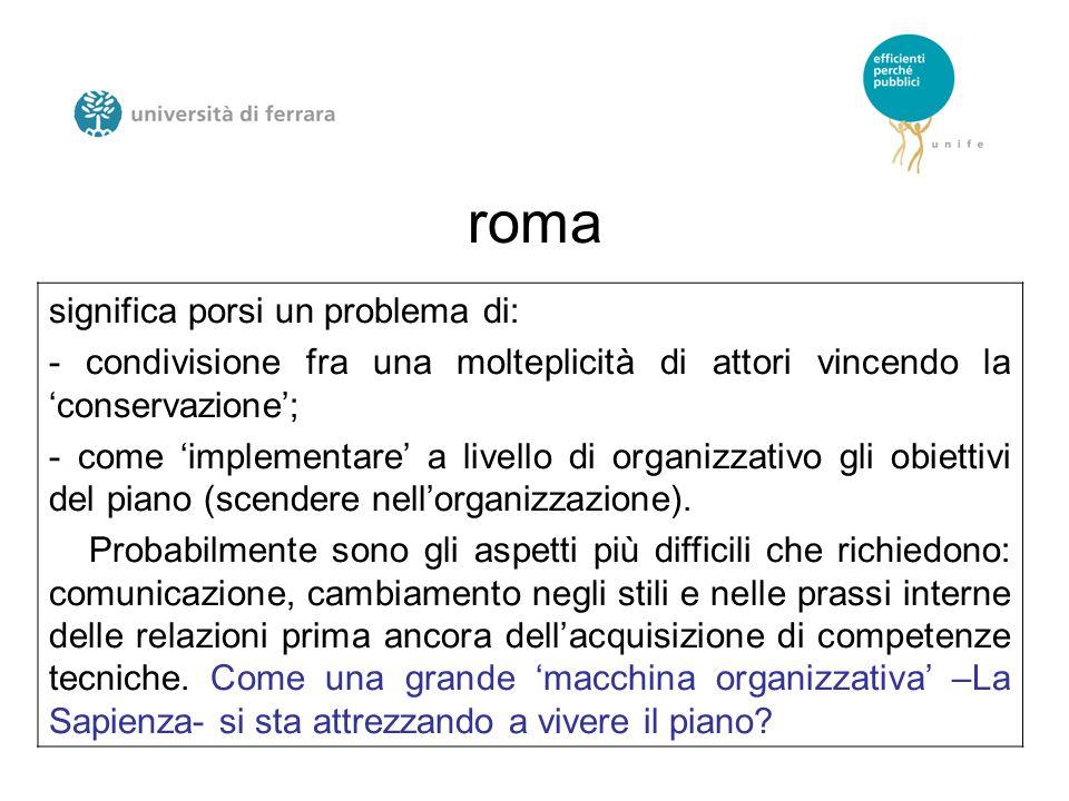 roma significa porsi un problema di: - condivisione fra una molteplicità di attori vincendo la 'conservazione'; - come 'implementare' a livello di organizzativo gli obiettivi del piano (scendere nell'organizzazione).