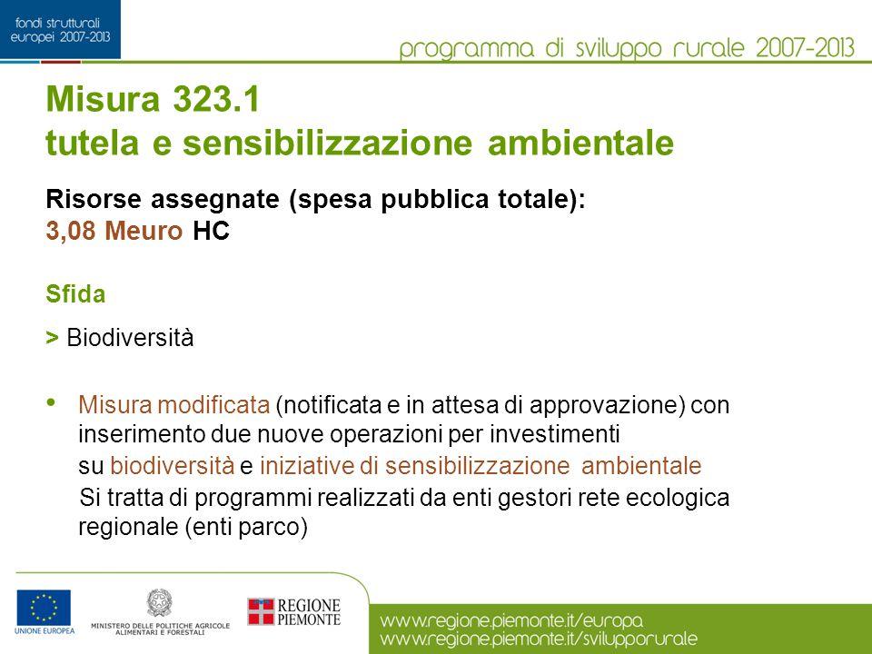 Misura 323.1 tutela e sensibilizzazione ambientale Risorse assegnate (spesa pubblica totale): 3,08 Meuro HC Sfida > Biodiversità Misura modificata (no