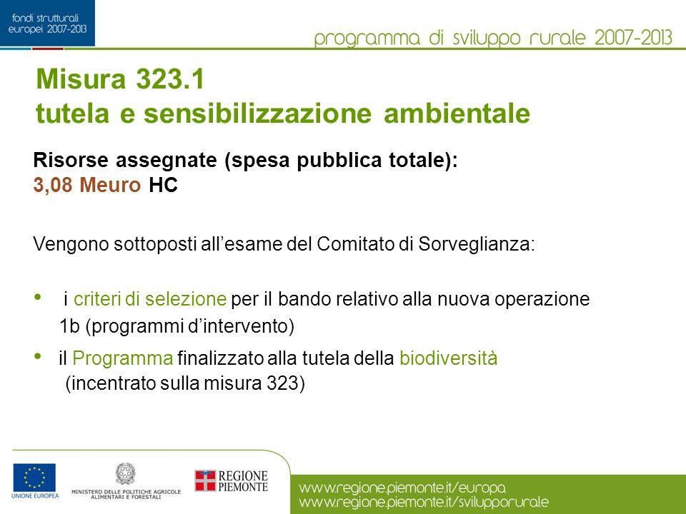 Misura 323.1 tutela e sensibilizzazione ambientale Risorse assegnate (spesa pubblica totale): 3,08 Meuro HC Vengono sottoposti all'esame del Comitato