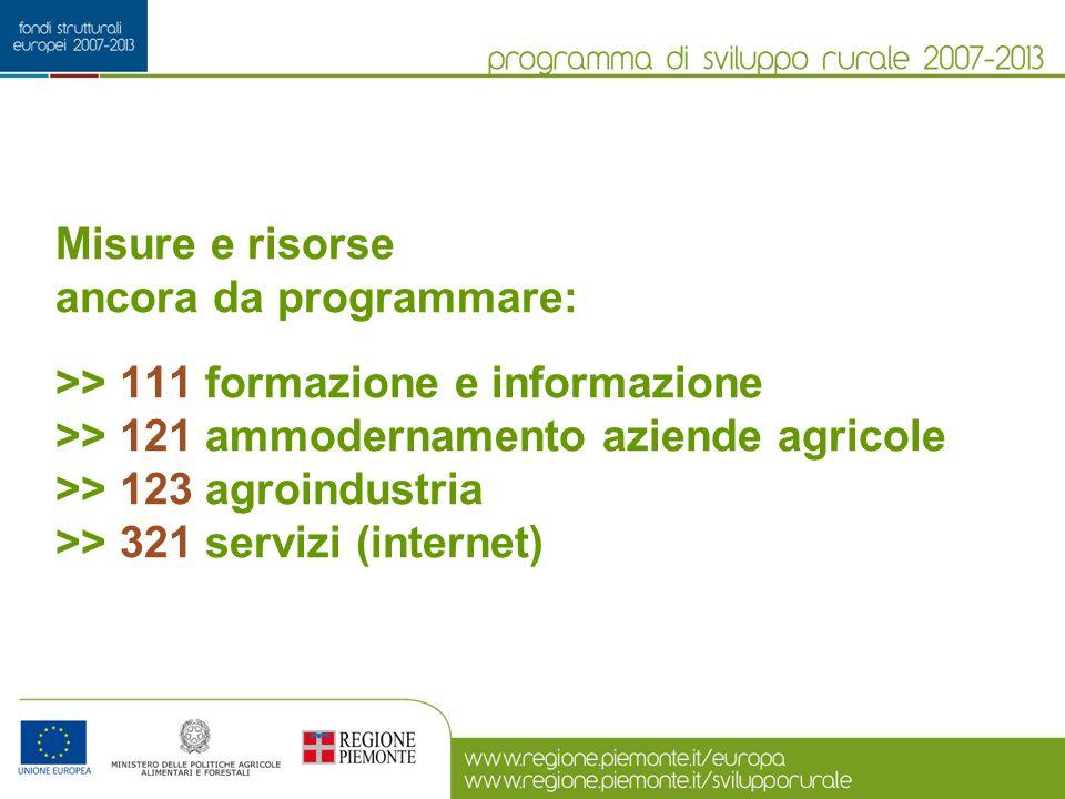 Misure e risorse ancora da programmare: >> 111 formazione e informazione >> 121 ammodernamento aziende agricole >> 123 agroindustria >> 321 servizi (i