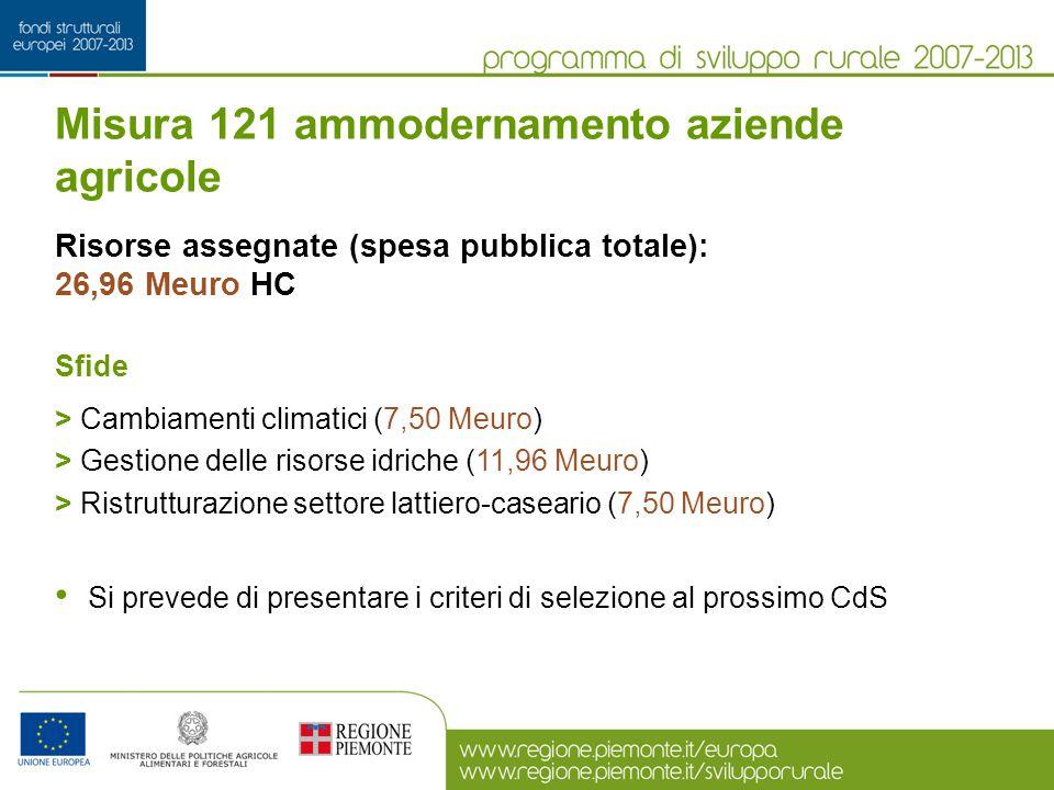 Risorse assegnate (spesa pubblica totale): 26,96 Meuro HC Sfide > Cambiamenti climatici (7,50 Meuro) > Gestione delle risorse idriche (11,96 Meuro) >