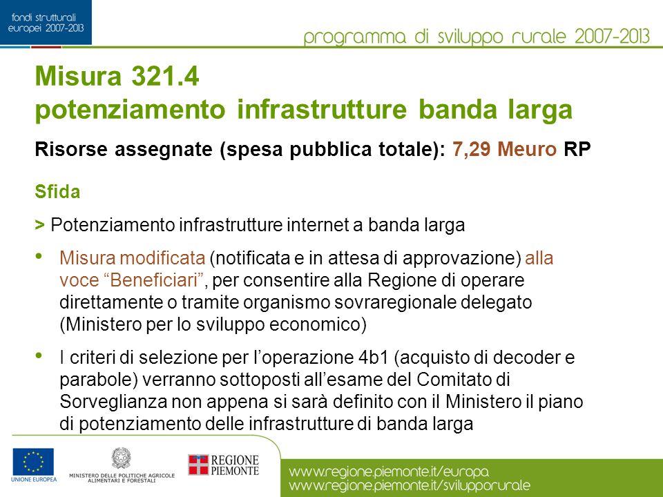 Misura 321.4 potenziamento infrastrutture banda larga Risorse assegnate (spesa pubblica totale): 7,29 Meuro RP Sfida > Potenziamento infrastrutture in