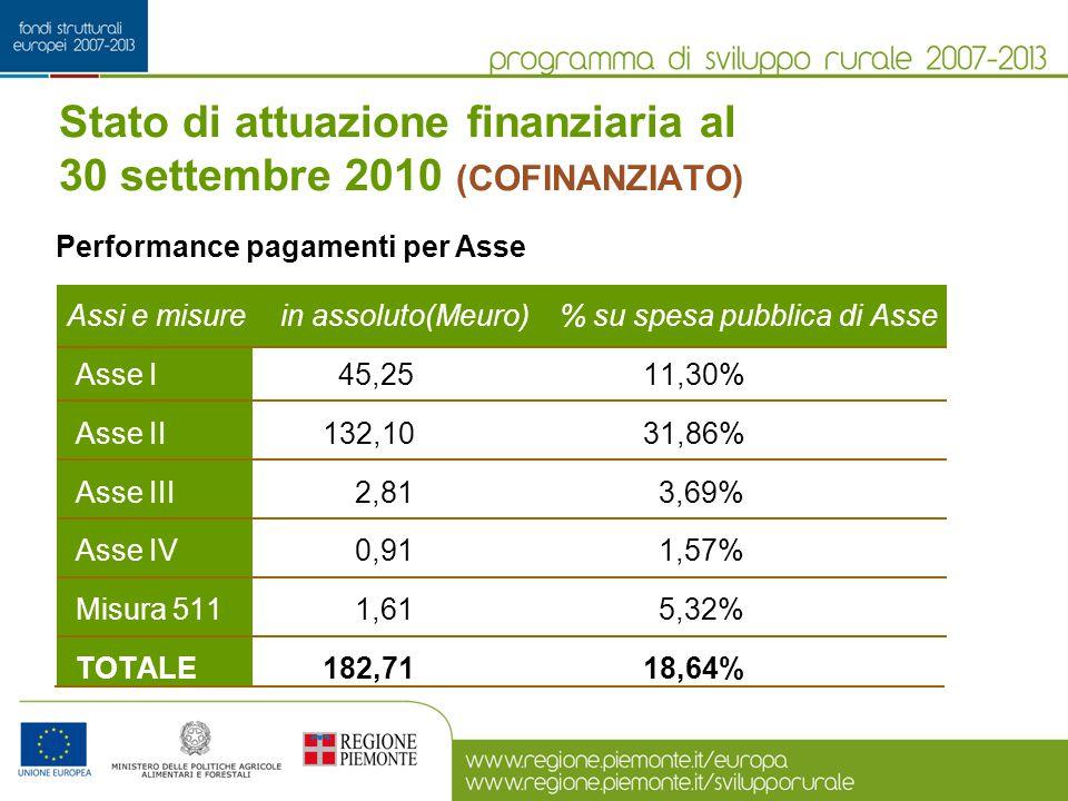 Assi e misure in assoluto(Meuro) % su spesa pubblica di Asse Asse I 45,25 11,30% Asse II 132,10 31,86% Asse III 2,81 3,69% Asse IV 0,91 1,57% Misura 5