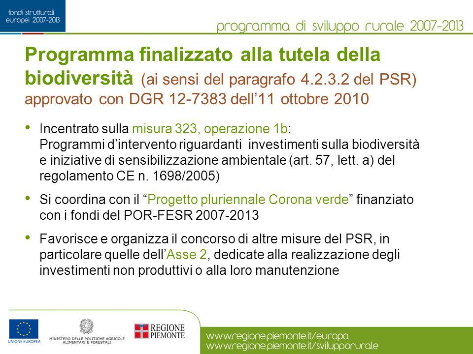 Programma finalizzato alla tutela della biodiversità (ai sensi del paragrafo 4.2.3.2 del PSR) approvato con DGR 12-7383 dell'11 ottobre 2010 Incentrat