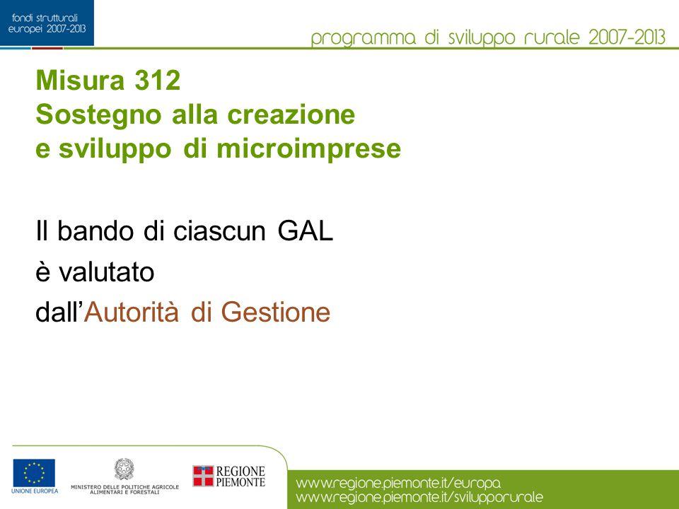 Misura 312 Sostegno alla creazione e sviluppo di microimprese Il bando di ciascun GAL è valutato dall'Autorità di Gestione