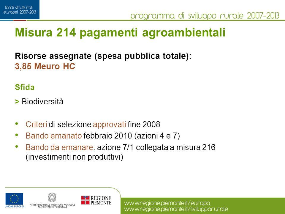 Misura 214 pagamenti agroambientali Risorse assegnate (spesa pubblica totale): 3,85 Meuro HC Sfida > Biodiversità Criteri di selezione approvati fine
