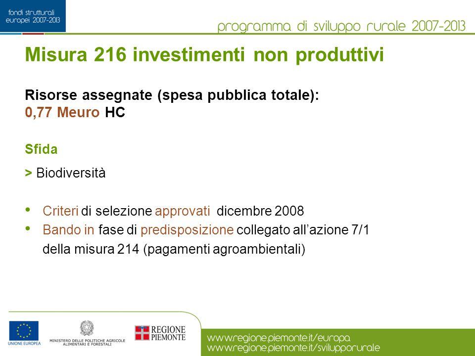Misura 216 investimenti non produttivi Risorse assegnate (spesa pubblica totale): 0,77 Meuro HC Sfida > Biodiversità Criteri di selezione approvati di