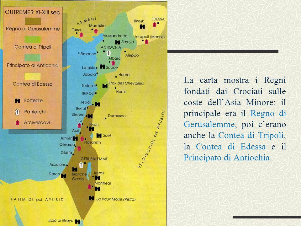 La carta mostra i Regni fondati dai Crociati sulle coste dell'Asia Minore: il principale era il Regno di Gerusalemme, poi c'erano anche la Contea di T