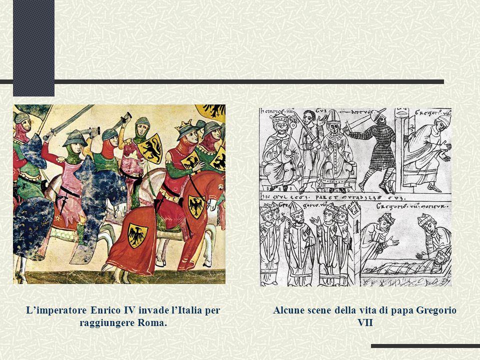 L'imperatore Enrico IV invade l'Italia per raggiungere Roma. Alcune scene della vita di papa Gregorio VII