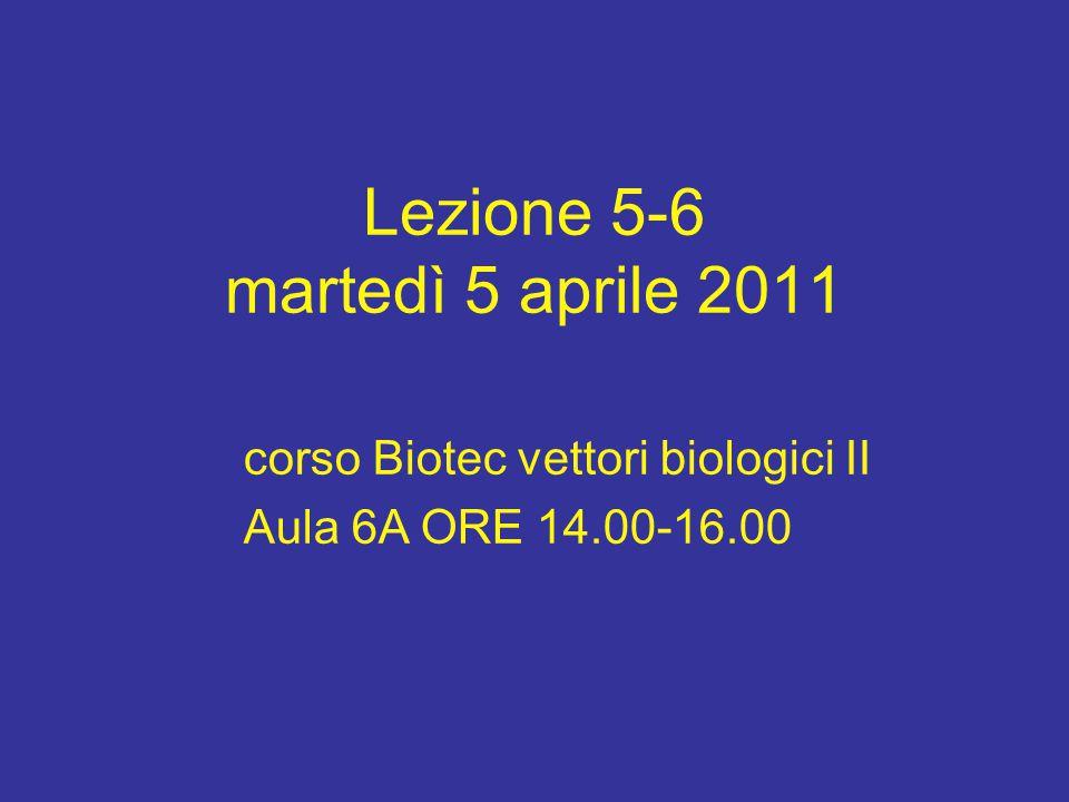 Lezione 5-6 martedì 5 aprile 2011 corso Biotec vettori biologici II Aula 6A ORE 14.00-16.00