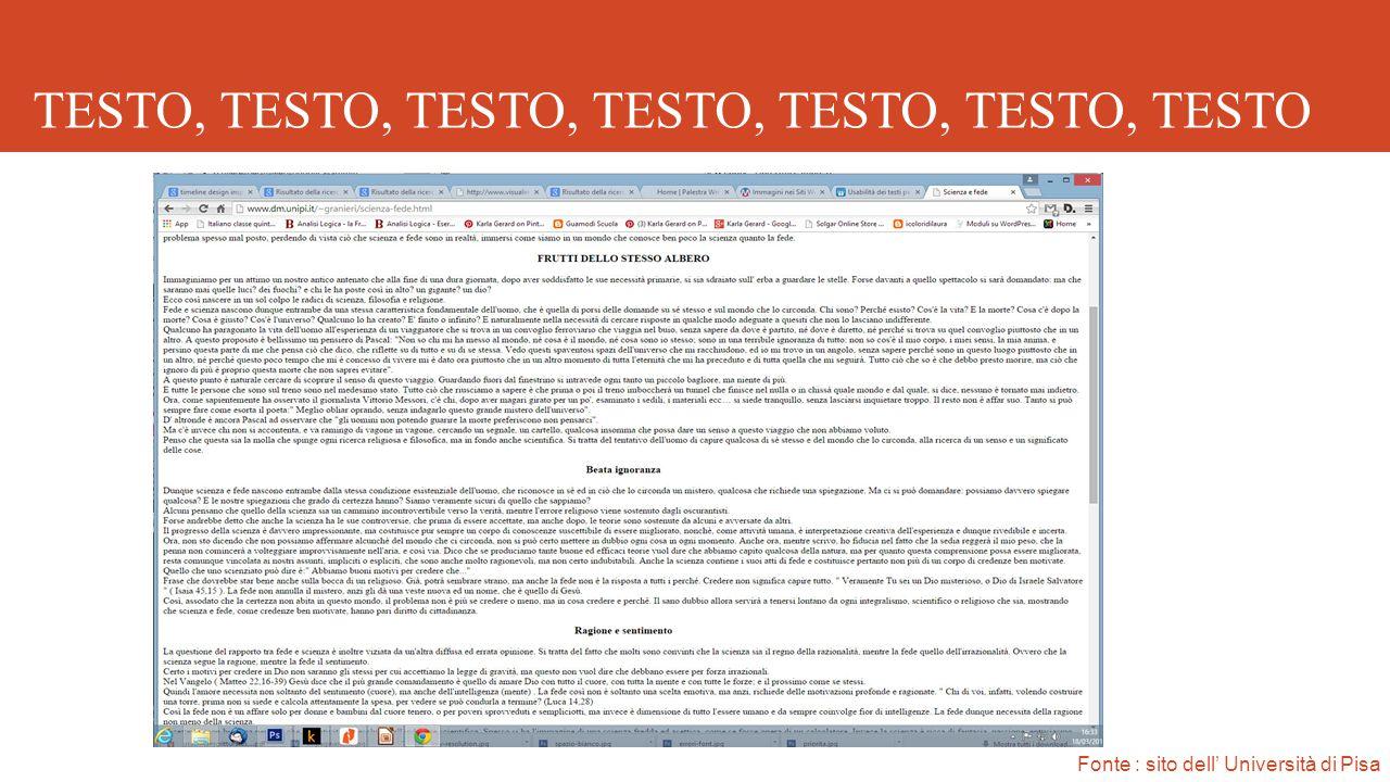 TESTO, TESTO, TESTO, TESTO, TESTO, TESTO, TESTO Fonte : sito dell' Università di Pisa