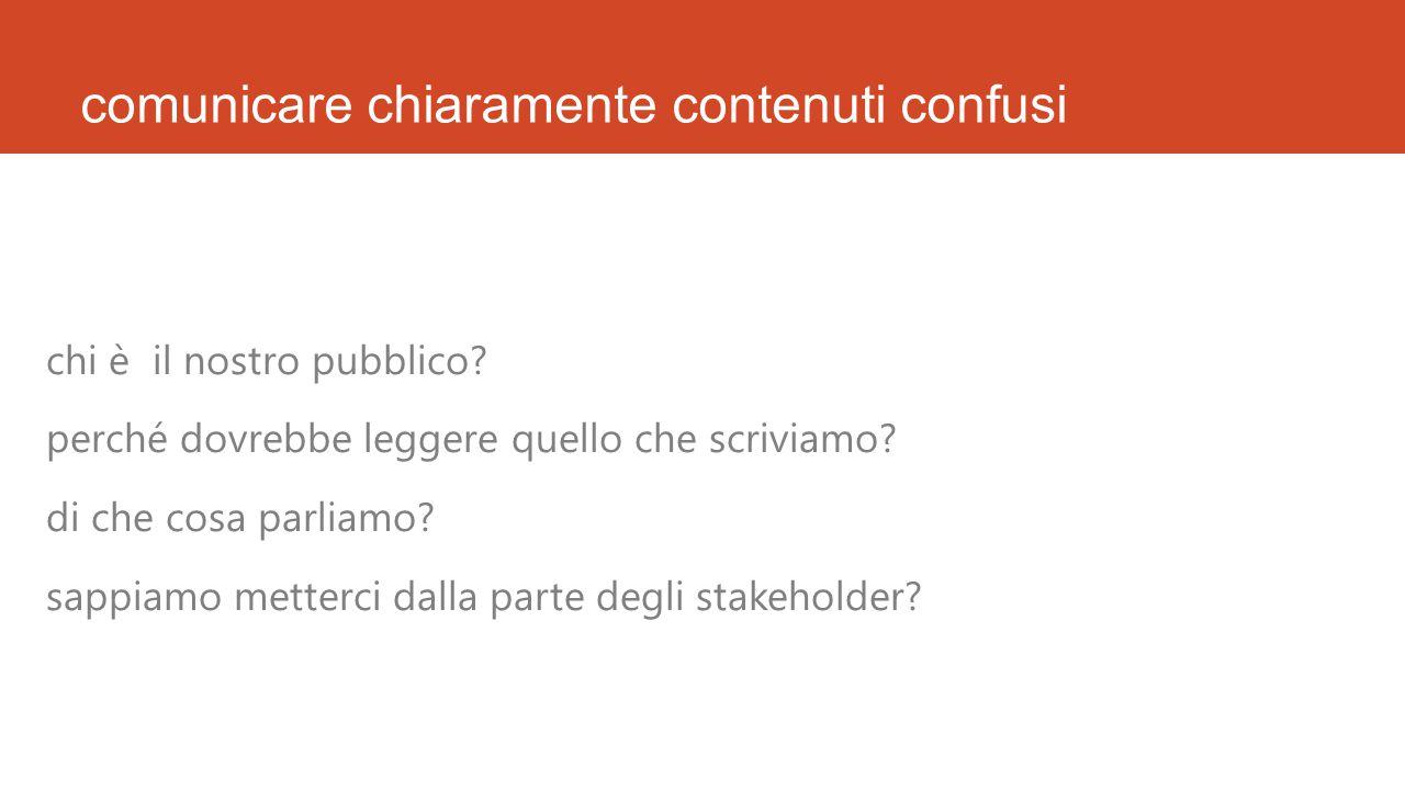 comunicare chiaramente contenuti confusi chi è il nostro pubblico.