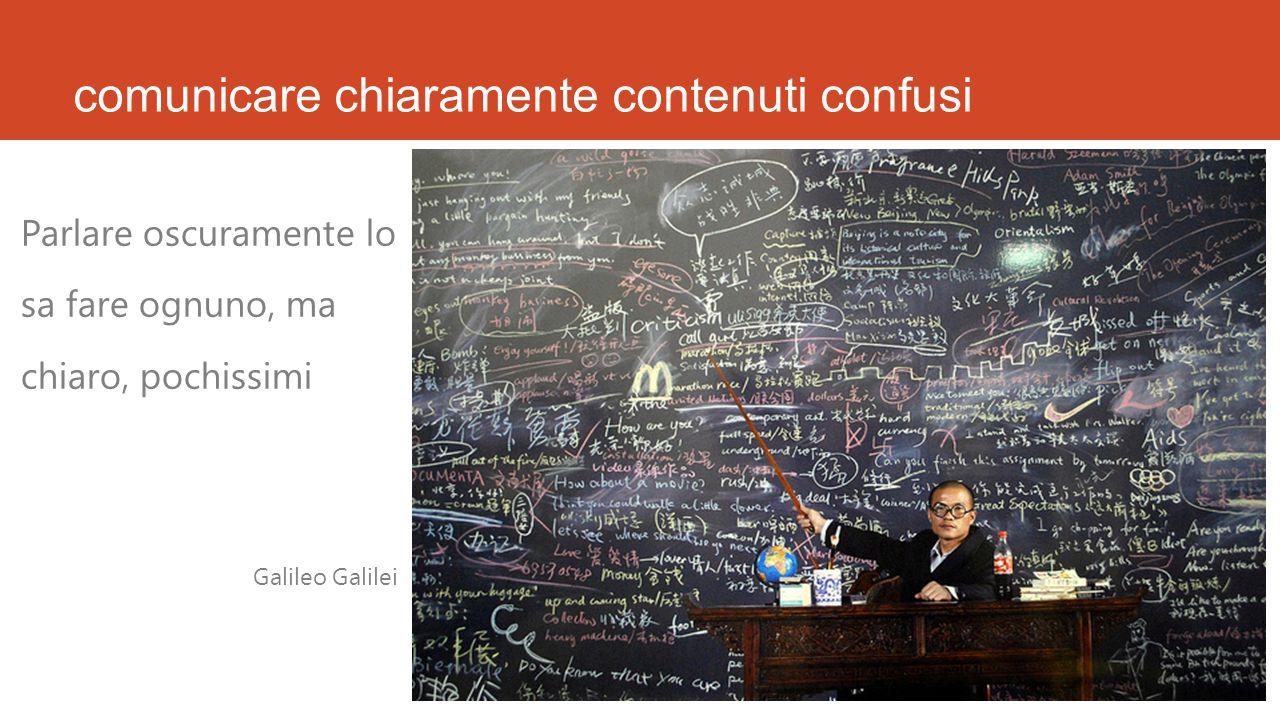 comunicare chiaramente contenuti confusi Parlare oscuramente lo sa fare ognuno, ma chiaro, pochissimi Galileo Galilei