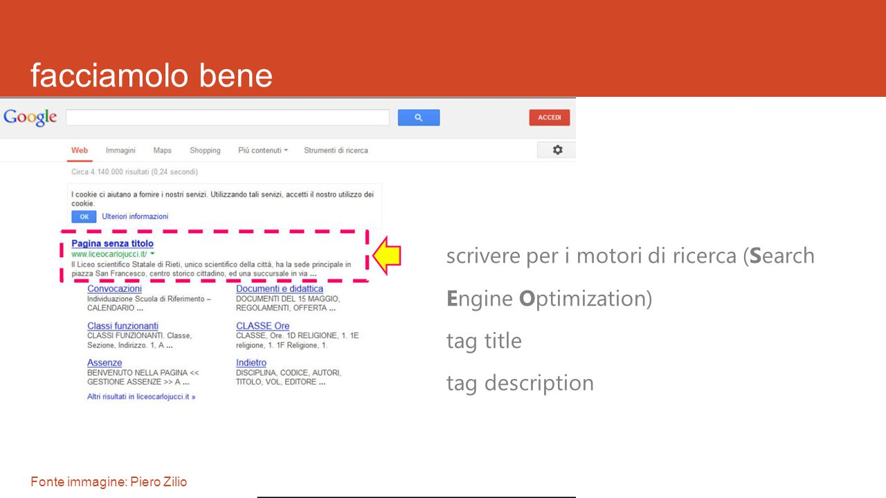 facciamolo bene scrivere per i motori di ricerca (Search Engine Optimization) tag title tag description Fonte immagine: Piero Zilio