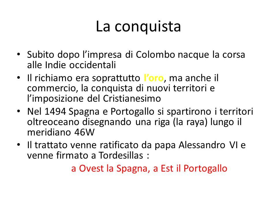 La conquista Subito dopo l'impresa di Colombo nacque la corsa alle Indie occidentali Il richiamo era soprattutto l'oro, ma anche il commercio, la conq