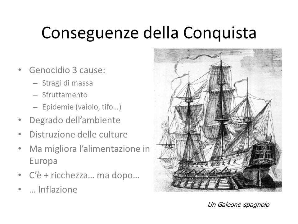 Conseguenze della Conquista Genocidio 3 cause: – Stragi di massa – Sfruttamento – Epidemie (vaiolo, tifo…) Degrado dell'ambiente Distruzione delle cul