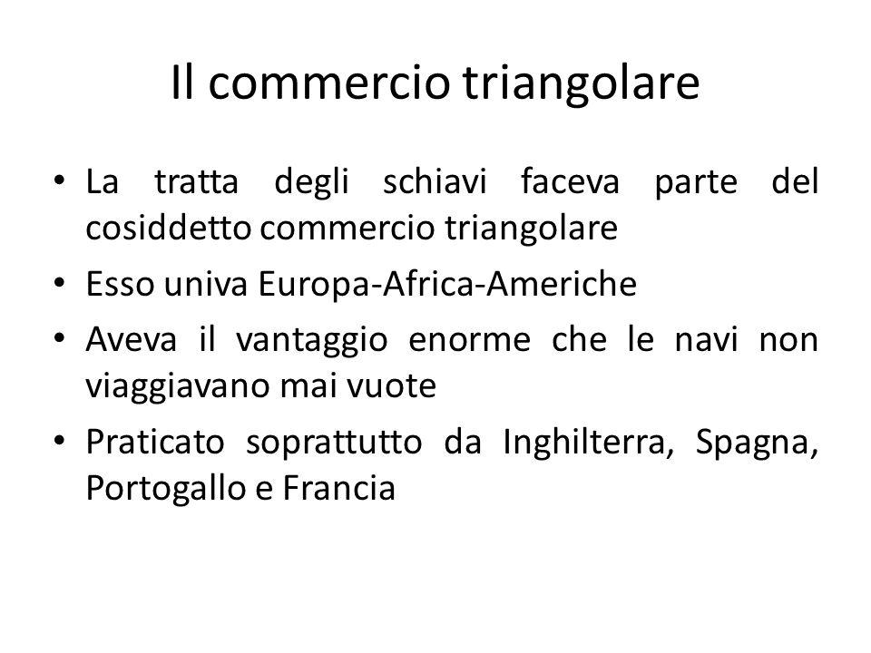Il commercio triangolare La tratta degli schiavi faceva parte del cosiddetto commercio triangolare Esso univa Europa-Africa-Americhe Aveva il vantaggi