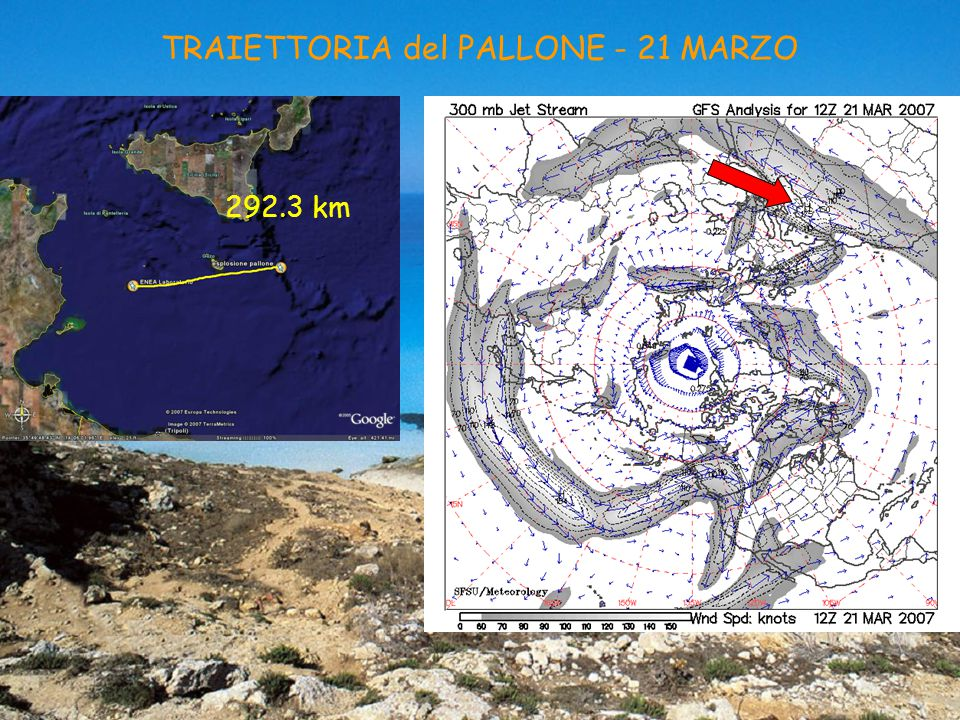 TRAIETTORIA del PALLONE - 21 MARZO 292.3 km