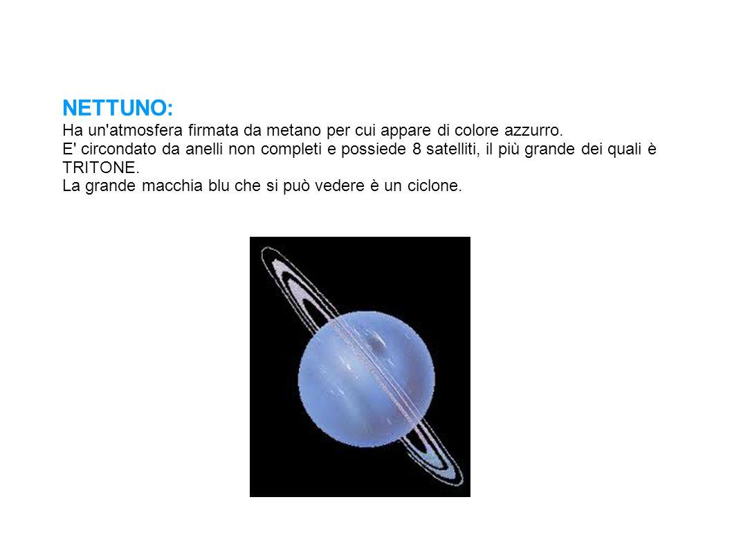 NETTUNO: Ha un'atmosfera firmata da metano per cui appare di colore azzurro. E' circondato da anelli non completi e possiede 8 satelliti, il più grand