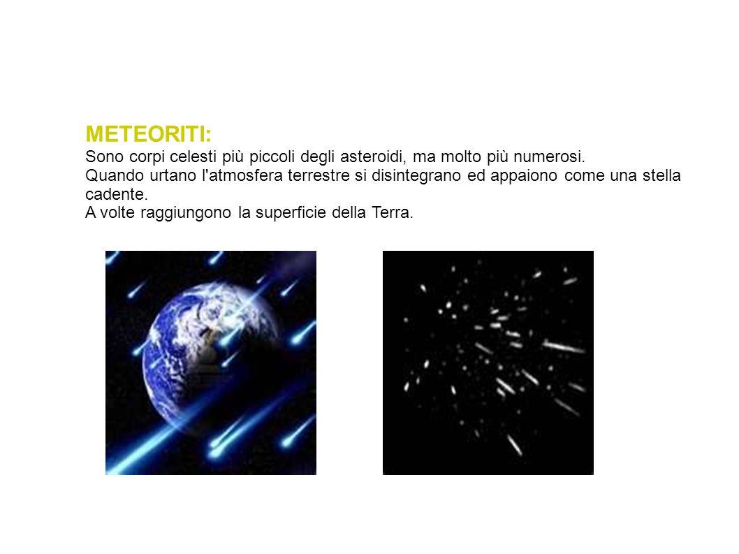 METEORITI: Sono corpi celesti più piccoli degli asteroidi, ma molto più numerosi. Quando urtano l'atmosfera terrestre si disintegrano ed appaiono come