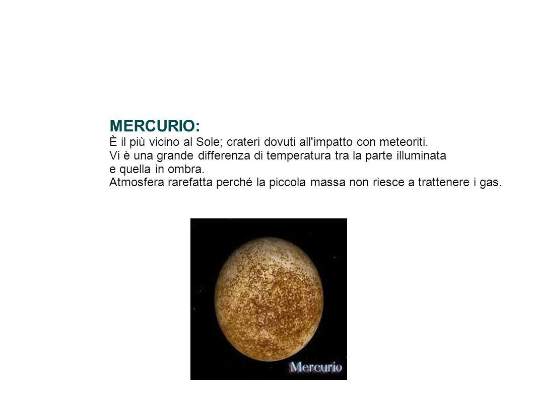 MERCURIO: È il più vicino al Sole; crateri dovuti all'impatto con meteoriti. Vi è una grande differenza di temperatura tra la parte illuminata e quell