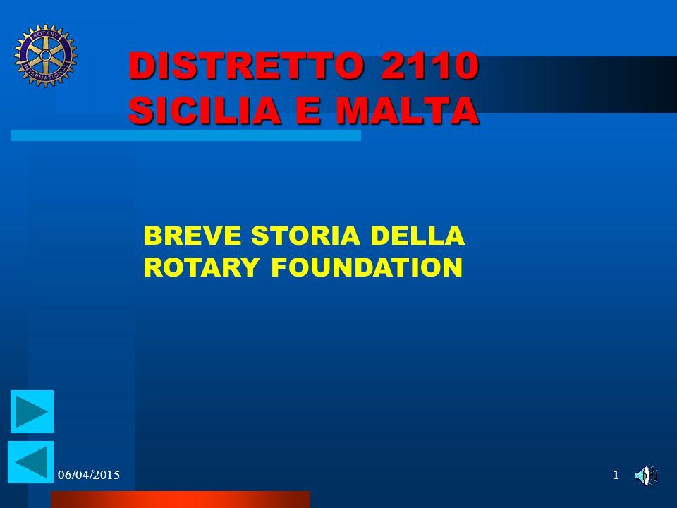 06/04/20151 DISTRETTO 2110 SICILIA E MALTA BREVE STORIA DELLA ROTARY FOUNDATION