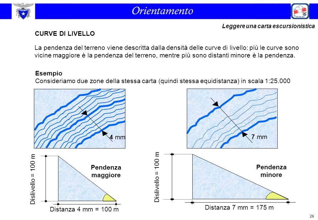26 CURVE DI LIVELLO La pendenza del terreno viene descritta dalla densità delle curve di livello: più le curve sono vicine maggiore è la pendenza del