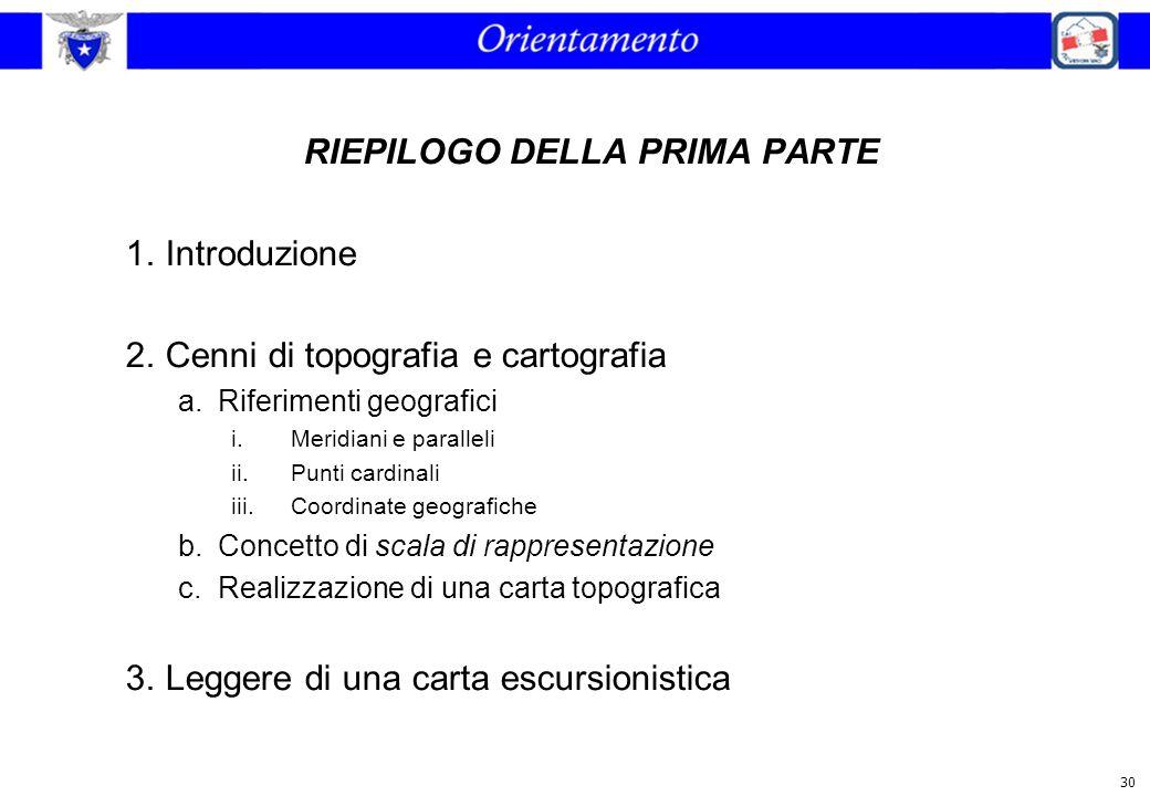 30 RIEPILOGO DELLA PRIMA PARTE 1.Introduzione 2.Cenni di topografia e cartografia a.Riferimenti geografici i.Meridiani e paralleli ii.Punti cardinali