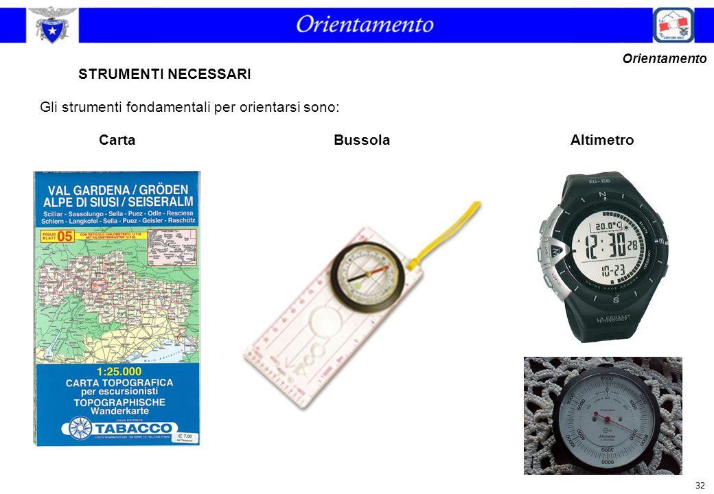 32 STRUMENTI NECESSARI Gli strumenti fondamentali per orientarsi sono: Orientamento CartaAltimetroBussola