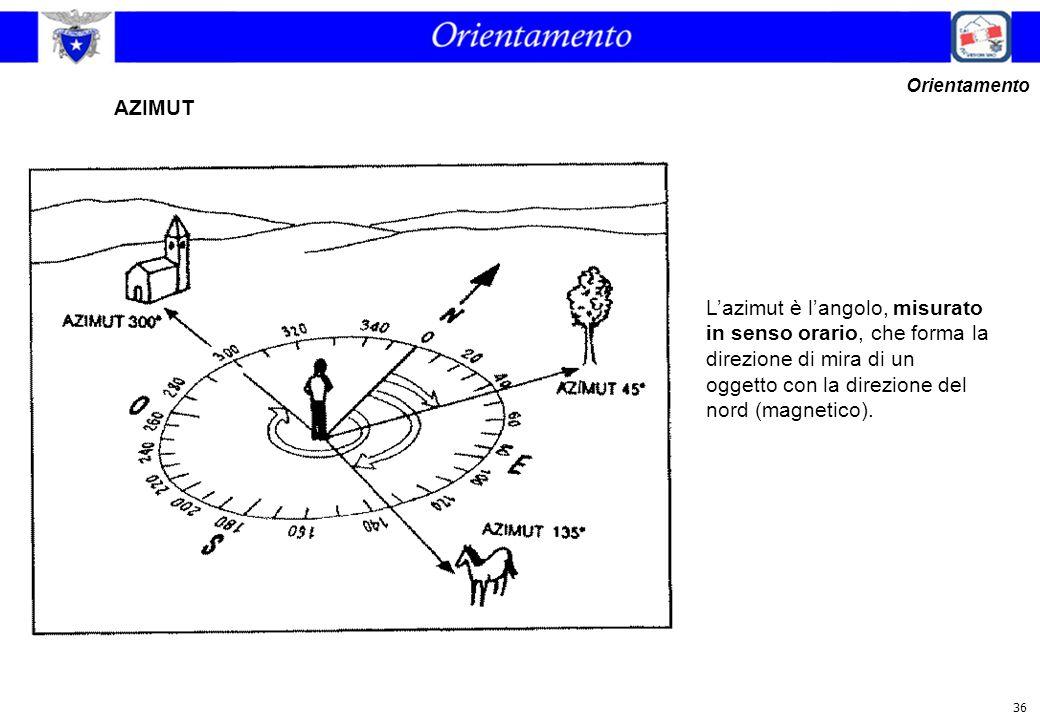 36 L'azimut è l'angolo, misurato in senso orario, che forma la direzione di mira di un oggetto con la direzione del nord (magnetico). AZIMUT Orientame