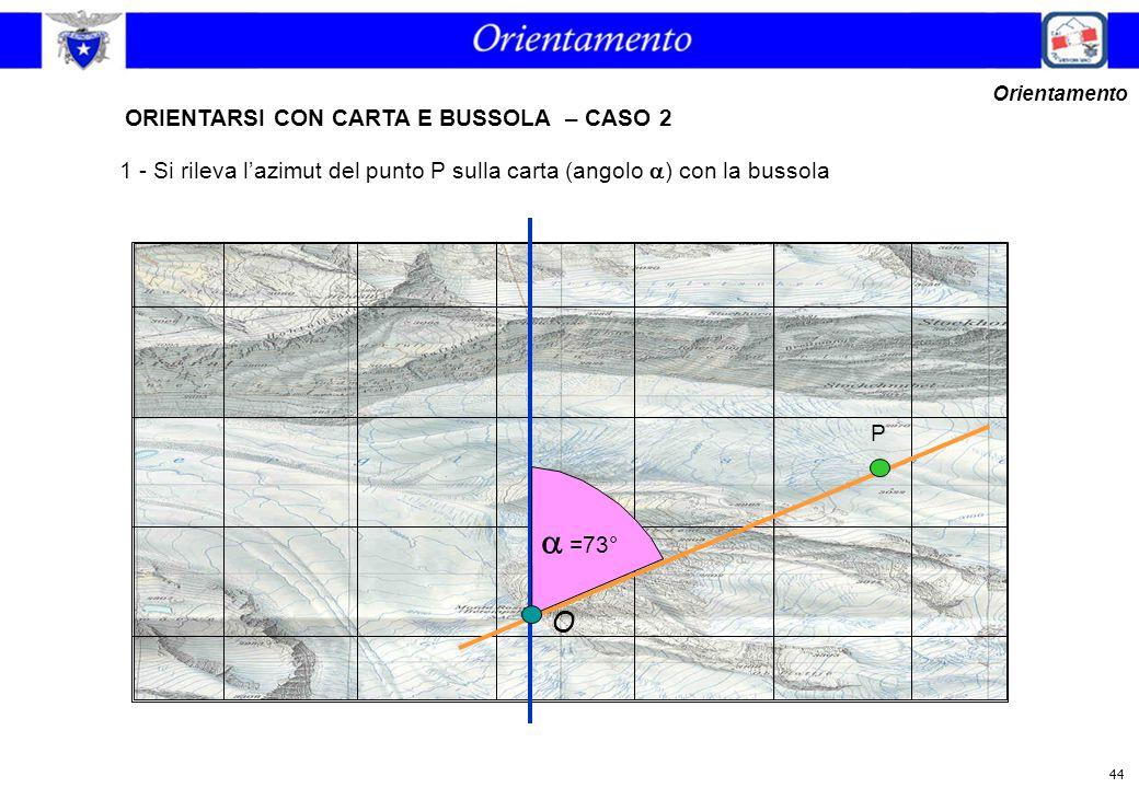 44  =73° O ORIENTARSI CON CARTA E BUSSOLA – CASO 2 Orientamento P 1 - Si rileva l'azimut del punto P sulla carta (angolo  ) con la bussola