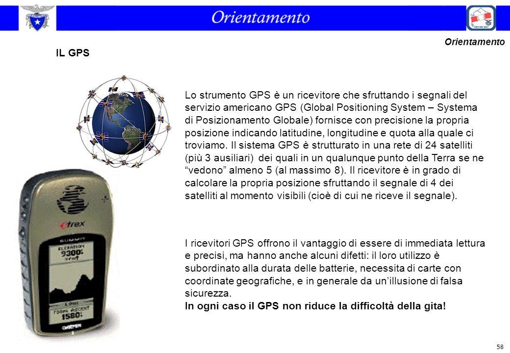 58 IL GPS Orientamento Lo strumento GPS è un ricevitore che sfruttando i segnali del servizio americano GPS (Global Positioning System – Systema di Po