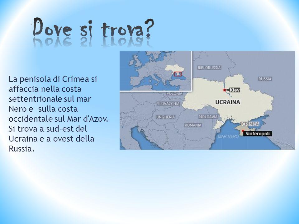 La penisola di Crimea si affaccia nella costa settentrionale sul mar Nero e sulla costa occidentale sul Mar d Azov.