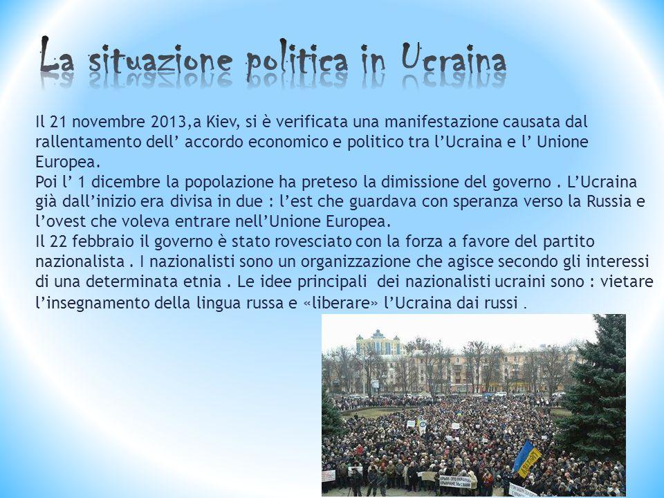 Il 21 novembre 2013,a Kiev, si è verificata una manifestazione causata dal rallentamento dell' accordo economico e politico tra l'Ucraina e l' Unione Europea.