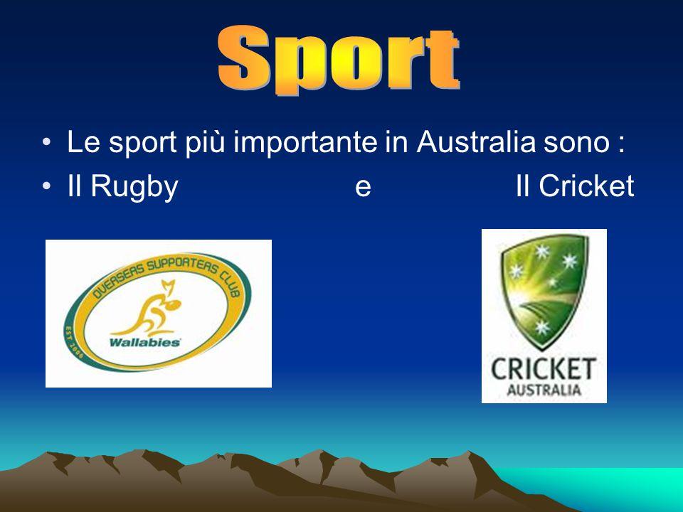 Le sport più importante in Australia sono : Il Rugby e Il Cricket