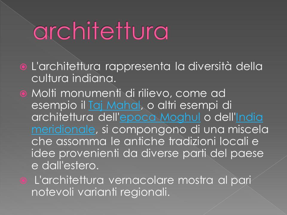  L architettura rappresenta la diversità della cultura indiana.